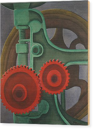 Wood Print featuring the painting Drill Gears by Paul Amaranto
