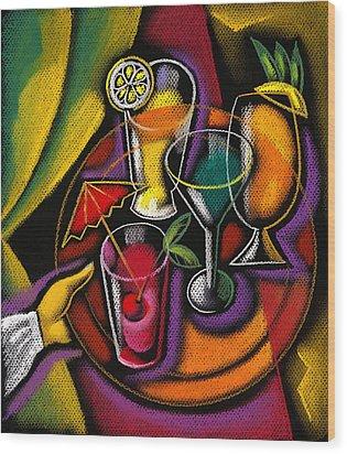Drinks Wood Print by Leon Zernitsky