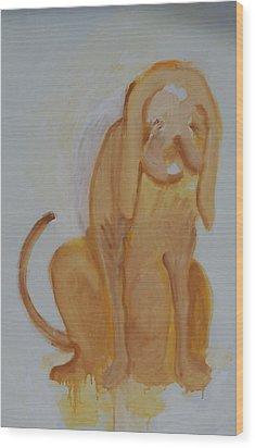 Drippy Dog Wood Print by Jay Manne-Crusoe