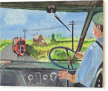 Wood Print featuring the painting Driving   Yesteryear by Audrey Pollitt