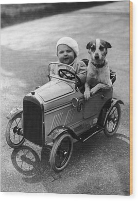 Driving Dog Wood Print by Norman Smith