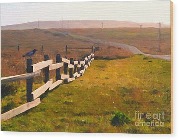 Driving Down The Lonely Highway . Study 1 . Painterly Wood Print by Wingsdomain Art and Photography