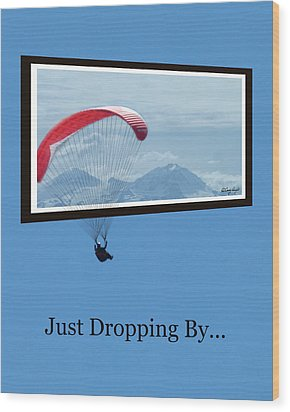 Dropping In Hang Glider Wood Print by Cindy Wright