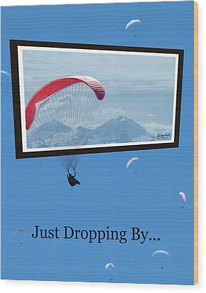 Dropping In Hang Gliders Wood Print by Cindy Wright