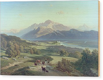 Drover On Horseback With His Cattle In A Mountainous Landscape With Schloss Anif Salzburg And Beyond Wood Print by Josef Mayburger