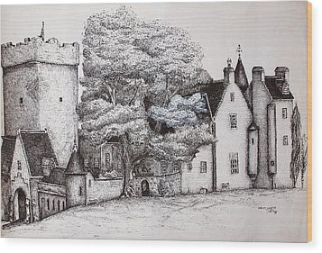 Wood Print featuring the drawing Drum Castle by Sheep McTavish