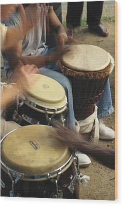 Drummers Of Varied Backgrounds Join Wood Print by Stephen St. John