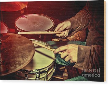 Wood Print featuring the photograph Drumming by Kim Wilson