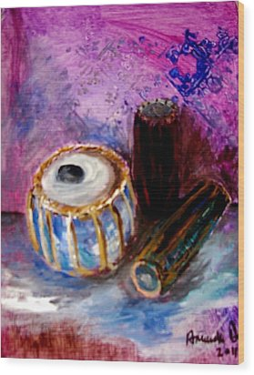 Wood Print featuring the painting Drums 4 by Amanda Dinan