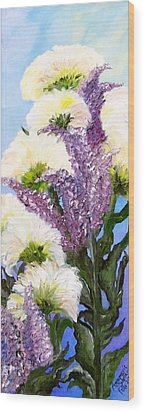 Wood Print featuring the painting Drunken Flowers by Annamarie Sidella-Felts