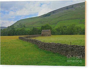 Dry Stone Walls And Stone Barn Wood Print by Louise Heusinkveld