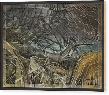 Wood Print featuring the pastel Drytreescape 2009 by Glenn Bautista