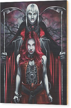 Dual Vampires Wood Print by Rick Ritchie