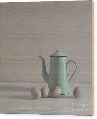 Duck Eggs And Coffee Pot Wood Print by Paul Grand