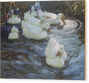 Ducks On A Pond Wood Print by Photos.com
