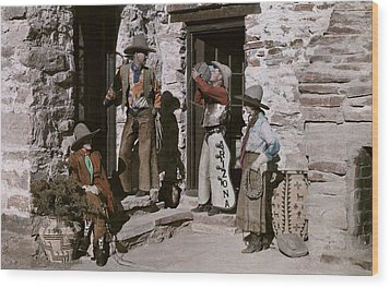 Dude Ranch Guests Pretend To Be Cowboys Wood Print by Clifton R Adams
