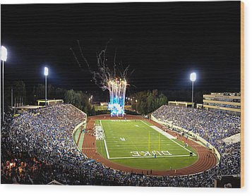 Duke Fireworks At A Packed Wallace Wade Stadium Wood Print by Lance King