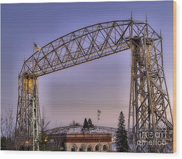 Duluth Lift Bridge Wood Print by Jimmy Ostgard