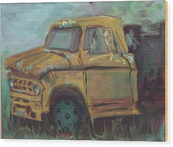 Wood Print featuring the painting Dump Truck by Carol Berning