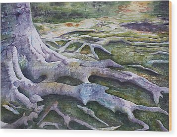 Wood Print featuring the painting Dunbar Cave Roots  by Patsy Sharpe