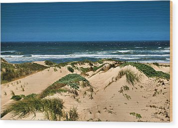 Dunes And The Pacific Wood Print by Steven Ainsworth