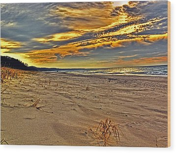 Wood Print featuring the photograph Dunes Sunset II by William Fields