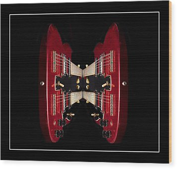 Duo-neck Red Guitar Wood Print by Trudy Wilkerson
