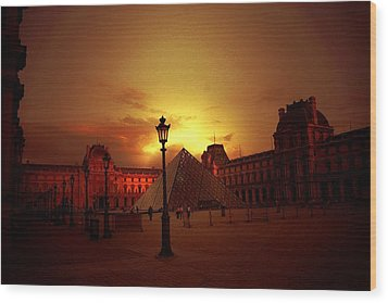 Dusk At The Louvre Wood Print by Carrie OBrien Sibley