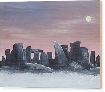 Dusk On The Winter Solstice At Stonehenge 1877 Wood Print by Alys Caviness-Gober