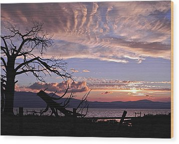 Dusk Over Lake Tahoe Wood Print by Kirsten Giving