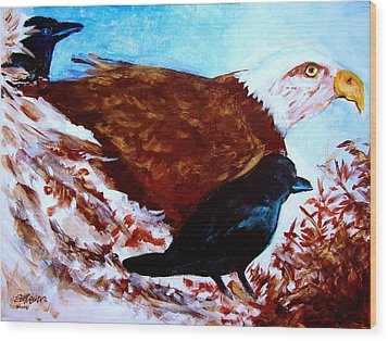Eagle And Ravens Wood Print by Seth Weaver