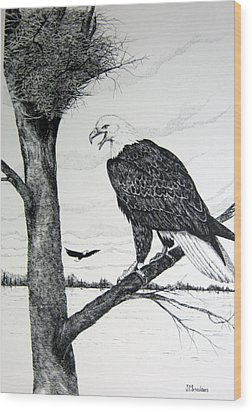 Eagle At Nest Wood Print by John Smeulders