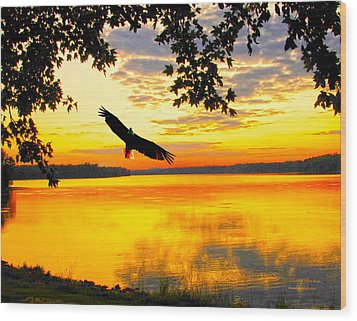Wood Print featuring the photograph Eagle At Sunset by Randall Branham