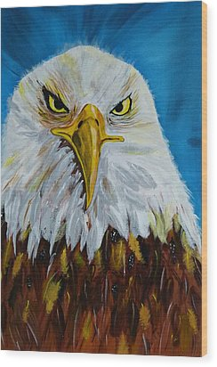 Wood Print featuring the painting Eagle by Ismeta Gruenwald