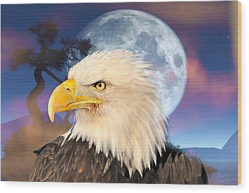 Eagle Moon Wood Print by Marty Koch