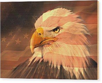 Eagle On Flag Wood Print by Marty Koch