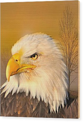 Eagle On Guard Wood Print by Marty Koch
