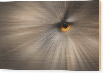 Eagle Owl Eye Abstract Wood Print by Andy Astbury