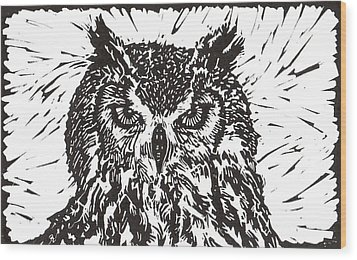 Eagle Owl Wood Print by Julia Forsyth
