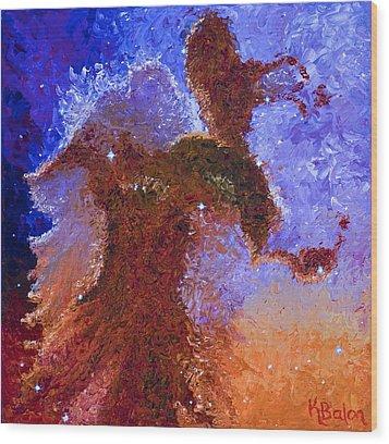 Eagle Rising Wood Print by Karen Balon