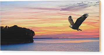 Wood Print featuring the photograph Eagle Sunrise by Randall Branham
