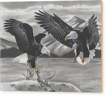 Eagles Wood Print by Christian Conner