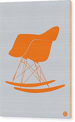 Eames Rocking Chair Orange Wood Print by Naxart Studio