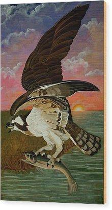 Early Catch-sunrise On The Ogeechee Wood Print by Teresa Grace Mock