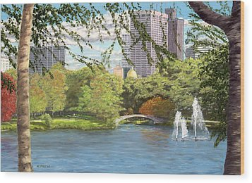 Early Color On Esplanade Wood Print by William Frew