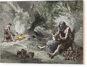 Early Humans Making Pottery Wood Print by Sheila Terry