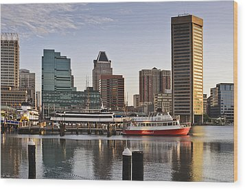 Wood Print featuring the photograph Early Morning Baltimore Inner Harbor by Marianne Campolongo