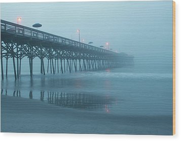 Early Morning Fog At Garden City Pier Wood Print by Sandi Blood