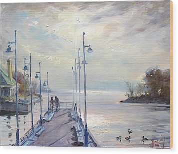 Early Morning In Lake Shore Wood Print by Ylli Haruni