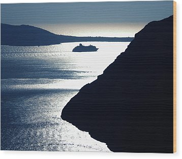 Wood Print featuring the photograph Early Night Santorini Island Greece by Colette V Hera  Guggenheim